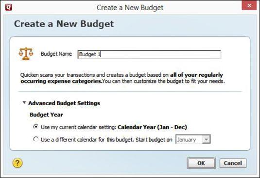 A janela de configuração Orçamento Avançado.
