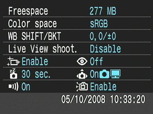 ���� - As configurações da câmera função de exibição em uma Canon EOS Digital Rebel XSi / 450D
