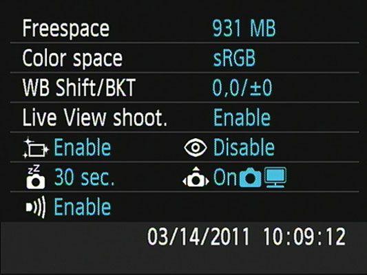 ���� - A exibição das configurações da câmera em uma câmera Canon EOS Rebel T3 Series