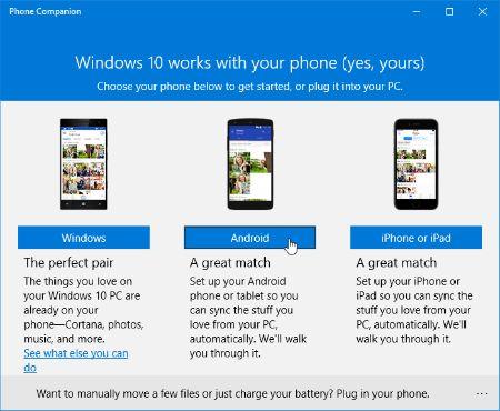 ���� - Usando o Windows 10 Companion Telefone