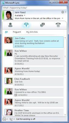 ���� - Trabalhar com Feed de atividades Ambient no Lync Online