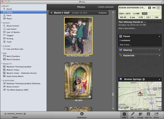 ���� - Trabalhar com rostos e lugares no iPhoto do seu MacBook