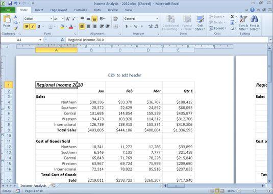 ���� - Trabalhando em Excel 2010 do Layout da Página