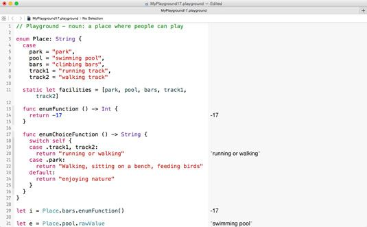 ���� - Trabalhando com uma função dentro de uma Swift enumeração