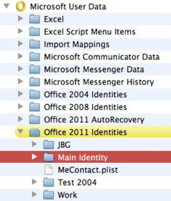 ���� - Trabalhando com o Outlook identidades no Office 2011 para Mac