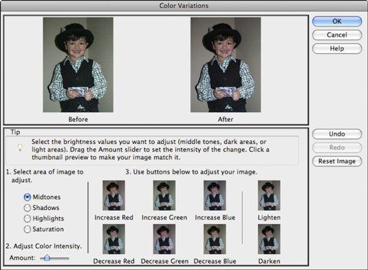 ���� - Trabalhando com o comando Variações de cores no Photoshop Elements 9