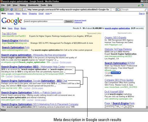 Uma descrição Meta nos resultados de pesquisa do Google