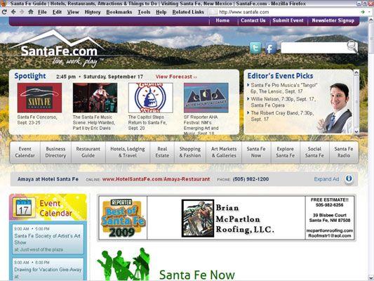 O relançamento da SantaFe.com como um website baseado em publicidade necessária uma nova planta de negócio. [Cred