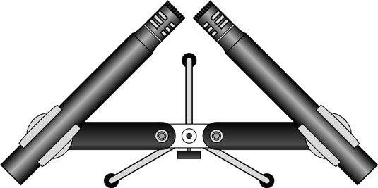 O aparelho de som abordagem mic X-Y utiliza dois microfones combinados colocados juntos.