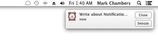 Uma notificação de alerta aparece no seu Desktop.